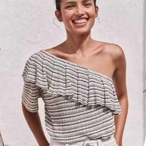 NWT Lucky Brand Striped One Shoulder Blouse Top MD